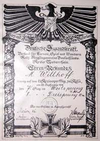 Urkunde von Matthias Willhoff bei einem Kreissportfest in Köln
